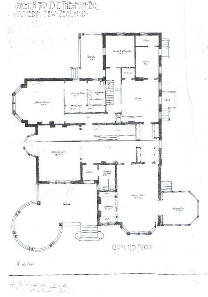 Toronto architect Charles Gibson's sketch plan for the Theomin house.